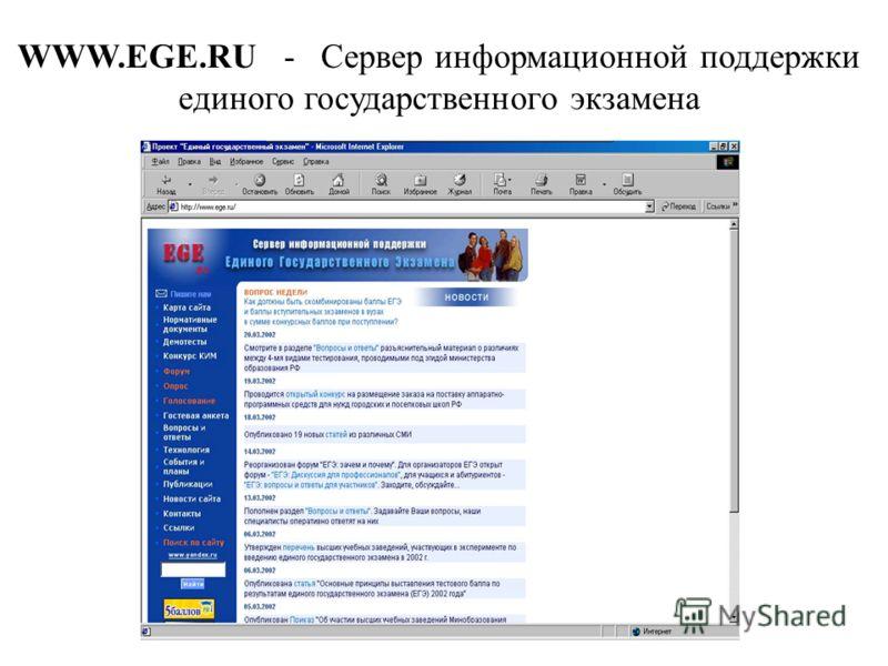 WWW.EGE.RU - Сервер информационной поддержки единого государственного экзамена
