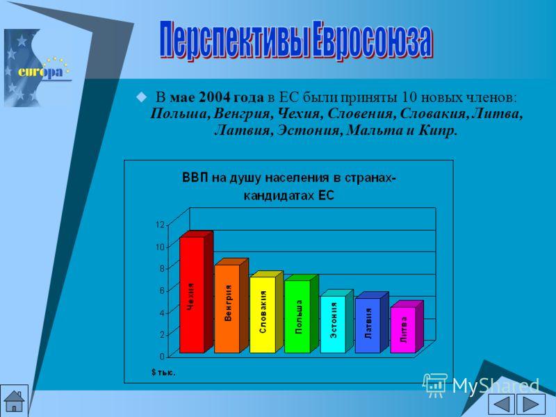 В мае 2004 года в ЕС были приняты 10 новых членов: Польша, Венгрия, Чехия, Словения, Словакия, Литва, Латвия, Эстония, Мальта и Кипр.