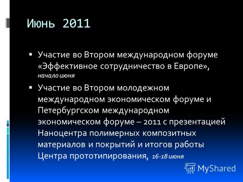 Июнь 2011 Участие во Втором международном форуме «Эффективное сотрудничество в Европе», начало июня Участие во Втором молодежном международном экономическом форуме и Петербургском международном экономическом форуме – 2011 с презентацией Наноцентра по