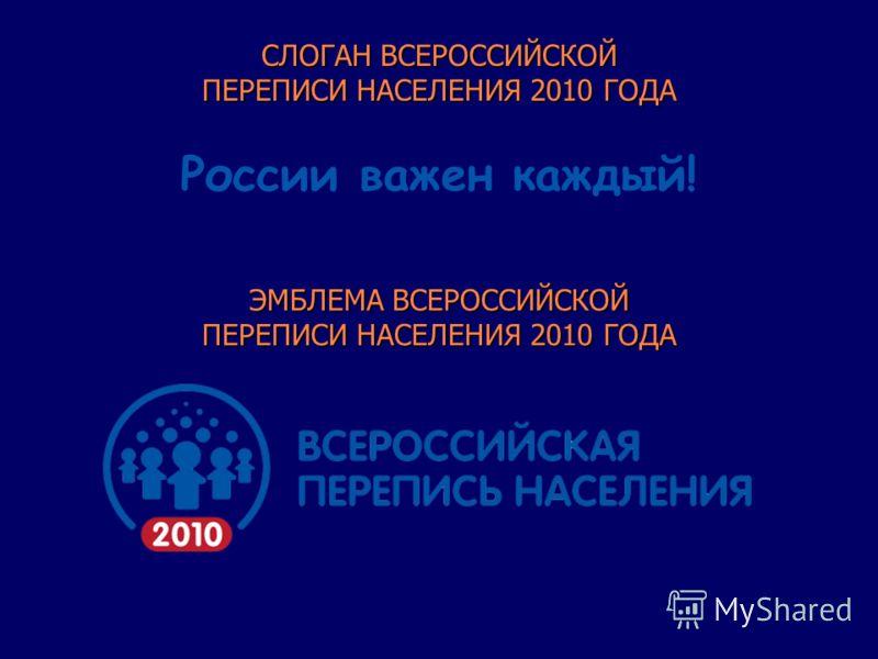 ЭМБЛЕМА ВСЕРОССИЙСКОЙ ПЕРЕПИСИ НАСЕЛЕНИЯ 2010 ГОДА СЛОГАН ВСЕРОССИЙСКОЙ ПЕРЕПИСИ НАСЕЛЕНИЯ 2010 ГОДА России важен каждый!