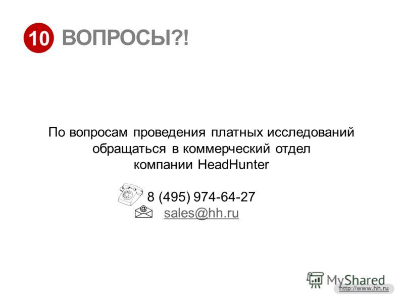 10 http://www.hh.ru ВОПРОСЫ?! По вопросам проведения платных исследований обращаться в коммерческий отдел компании HeadHunter 8 (495) 974-64-27 sales@hh.ru sales@hh.ru