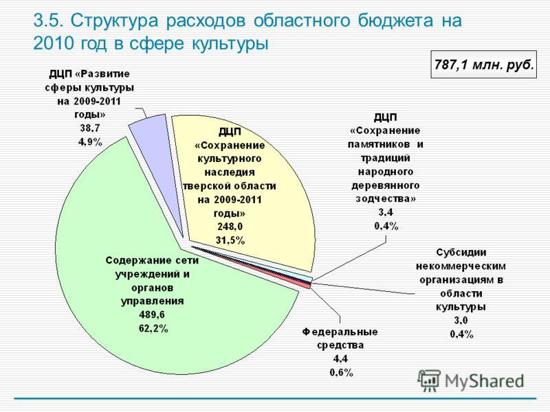 3.5. Структура расходов областного бюджета на 2010 год в сфере культуры 787,1 млн. руб.