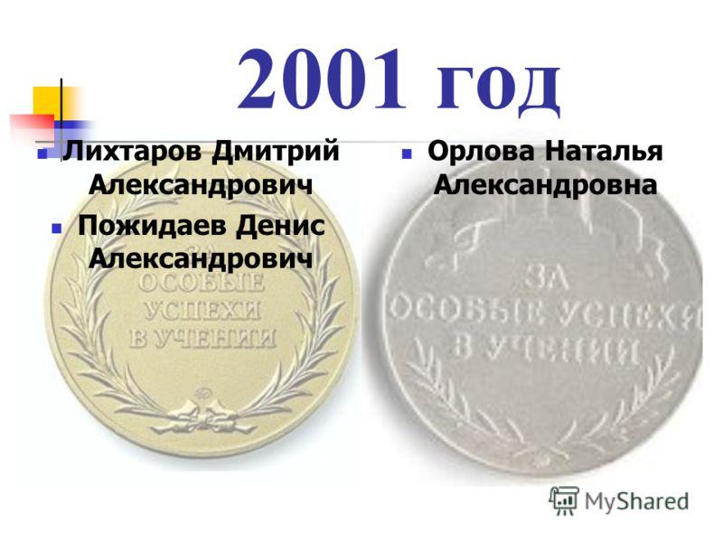 2001 год Лихтаров Дмитрий Александрович Пожидаев Денис Александрович Орлова Наталья Александровна