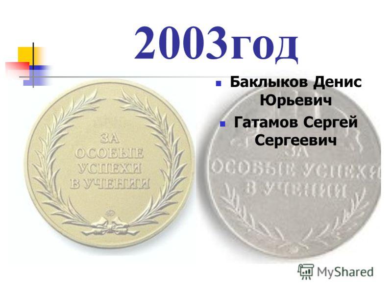 2003год Баклыков Денис Юрьевич Гатамов Сергей Сергеевич