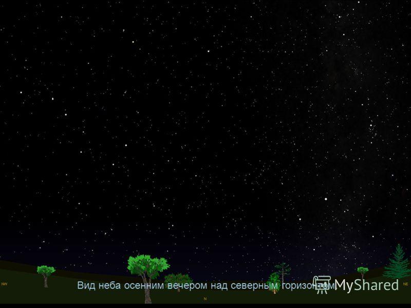 Вид неба осенним вечером над северным горизонтом.
