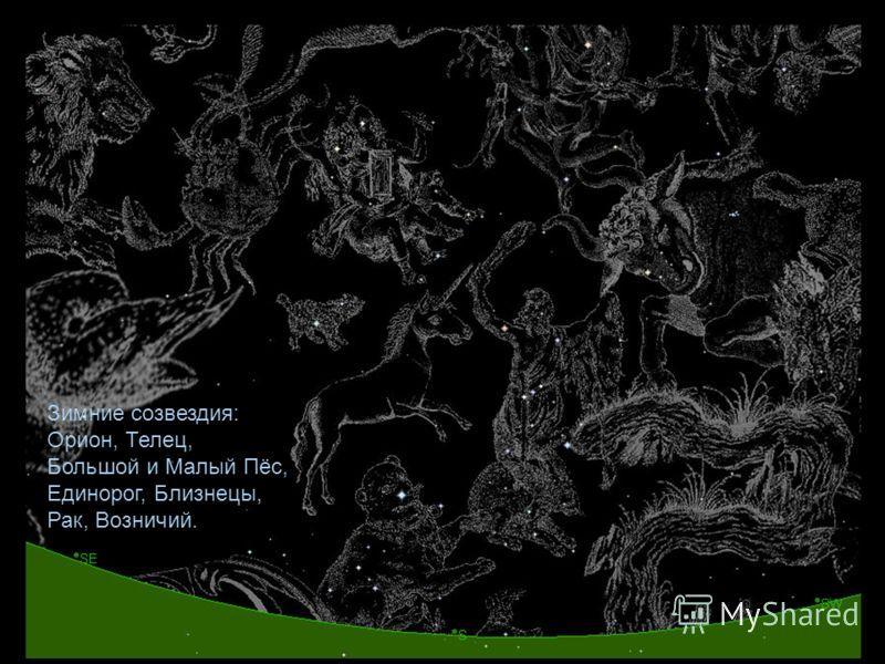 Зимние созвездия: Орион, Телец, Большой и Малый Пёс, Единорог, Близнецы, Рак, Возничий.