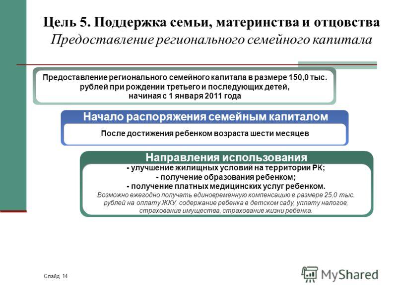 Слайд 14 Цель 5. Поддержка семьи, материнства и отцовства Предоставление регионального семейного капитала Предоставление регионального семейного капитала в размере 150,0 тыс. рублей при рождении третьего и последующих детей, начиная с 1 января 2011 г