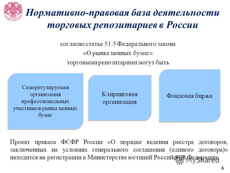 Нормативно-правовая база деятельности торговых репозитариев в России согласно статье 51.5 Федерального закона «О рынке ценных бумаг» торговыми репозитарими могут быть Саморегулируемая организация профессиональных участников рынка ценных бумаг Клиринг