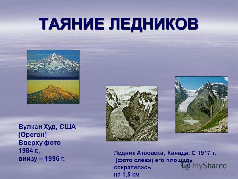 ТАЯНИЕ ЛЕДНИКОВ Вулкан Худ, США (Орегон) Вверху фото 1984 г., внизу – 1996 г. Ледник Атабаска, Канада. С 1917 г. (фото слева) его площадь сократилась на 1,5 км