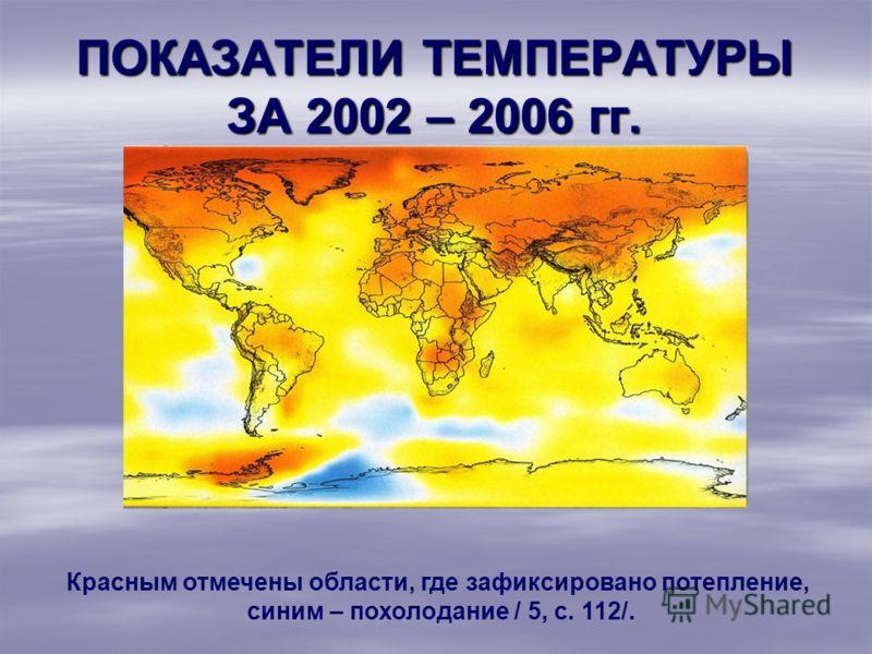 ПОКАЗАТЕЛИ ТЕМПЕРАТУРЫ ЗА 2002 – 2006 гг. Красным отмечены области, где зафиксировано потепление, синим – похолодание / 5, с. 112/.