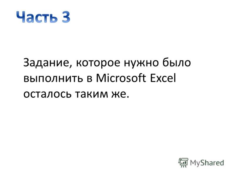Задание, которое нужно было выполнить в Microsoft Excel осталось таким же.