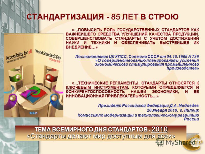 СТАНДАРТИЗАЦИЯ - 85 ЛЕТ В СТРОЮ «…ПОВЫСИТЬ РОЛЬ ГОСУДАРСТВЕННЫХ СТАНДАРТОВ КАК ВАЖНЕЙШЕГО СРЕДСТВА УЛУЧШЕНИЯ КАЧЕСТВА ПРОДУКЦИИ. СОВЕРШЕНСТВОВАТЬ СТАНДАРТЫ С УЧЕТОМ ДОСТИЖЕНИЙ НАУКИ И ТЕХНИКИ И ОБЕСПЕЧИВАТЬ БЫСТРЕЙШЕЕ ИХ ВНЕДРЕНИЕ…» Постановление ЦК