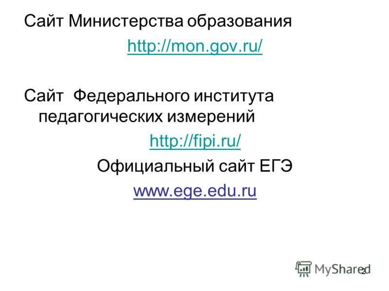 2 Сайт Министерства образования http://mon.gov.ru/ Сайт Федерального института педагогических измерений http://fipi.ru/ Официальный сайт ЕГЭ www.ege.edu.ru