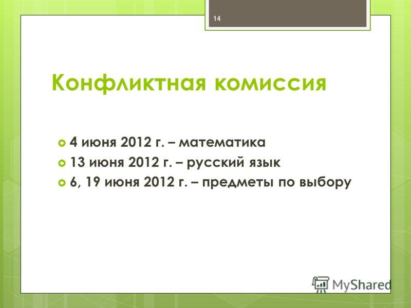 Конфликтная комиссия 4 июня 2012 г. – математика 13 июня 2012 г. – русский язык 6, 19 июня 2012 г. – предметы по выбору 14
