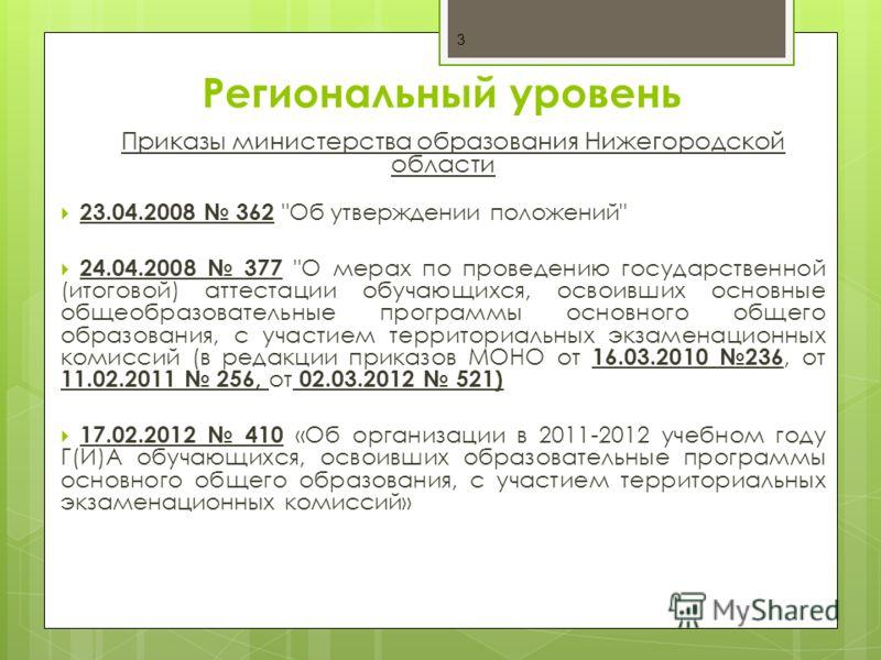 Региональный уровень Приказы министерства образования Нижегородской области 23.04.2008 362