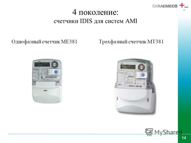 14 4 поколение: счетчики IDIS для систем AMI Однофазный счетчик МЕ381Трехфазный счетчик МТ381