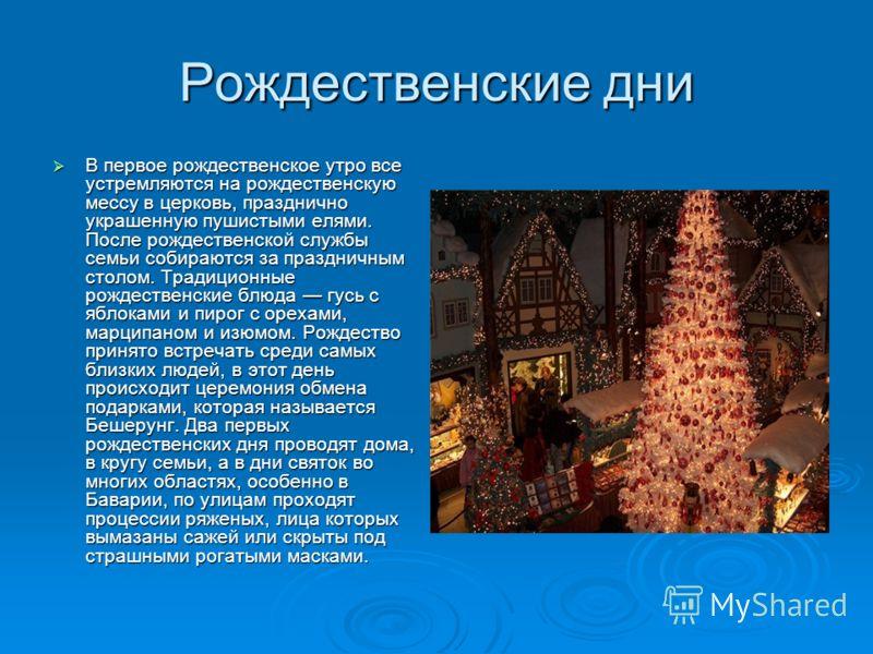Рождественские дни В первое рождественское утро все устремляются на рождественскую мессу в церковь, празднично украшенную пушистыми елями. После рождественской службы семьи собираются за праздничным столом. Традиционные рождественские блюда гусь с яб