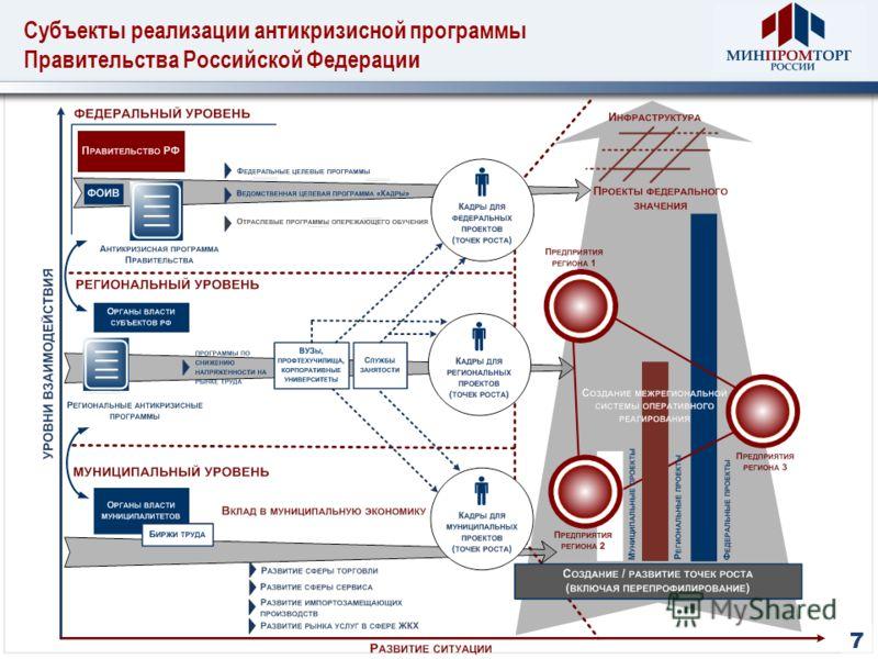 Субъекты реализации антикризисной программы Правительства Российской Федерации 7