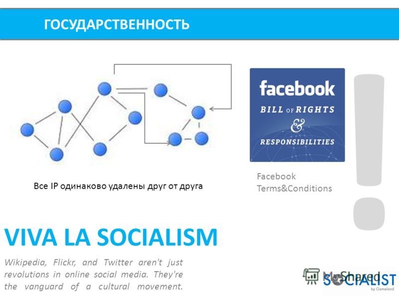 ! ГОСУДАРСТВЕННОСТЬ VIVA LA SOCIALISM Wikipedia, Flickr, and Twitter aren't just revolutions in online social media. They're the vanguard of a cultural movement. Facebook Terms&Conditions Все IP одинаково удалены друг от друга