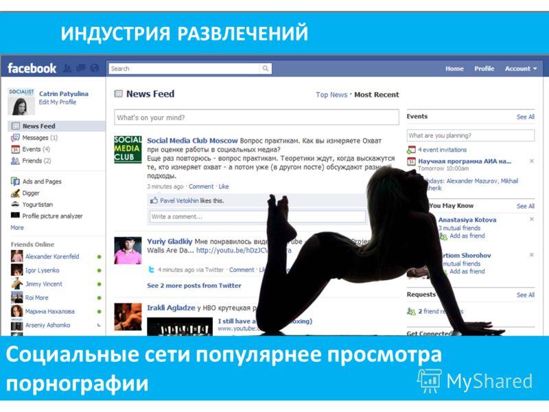 ИНДУСТРИЯ РАЗВЛЕЧЕНИЙ Социальные сети популярнее просмотра порнографии