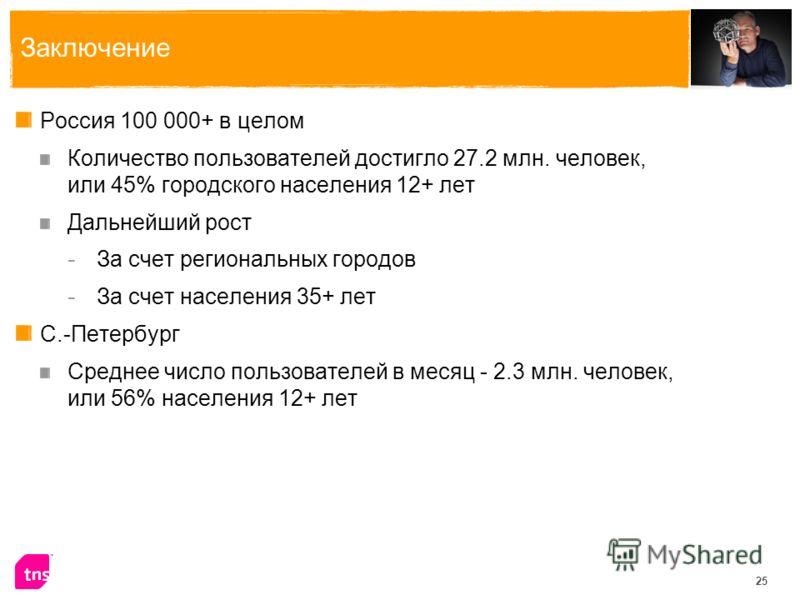 25 Заключение Россия 100 000+ в целом Количество пользователей достигло 27.2 млн. человек, или 45% городского населения 12+ лет Дальнейший рост - За счет региональных городов - За счет населения 35+ лет С.-Петербург Среднее число пользователей в меся