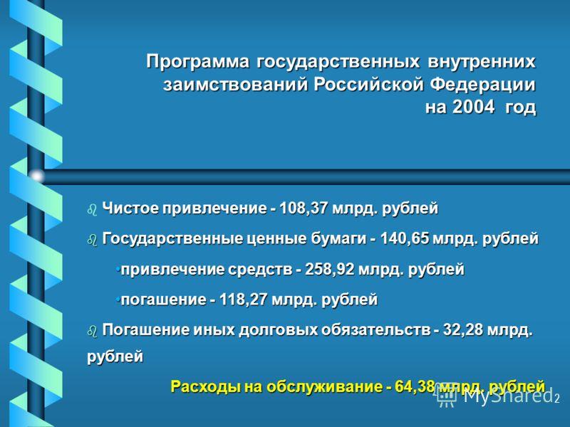 2 Программа государственных внутренних заимствований Российской Федерации на 2004 год Программа государственных внутренних заимствований Российской Федерации на 2004 год Чистое привлечение - 108,37 млрд. рублей b Чистое привлечение - 108,37 млрд. руб