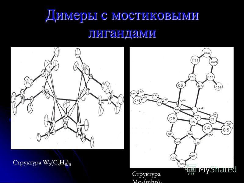 Димеры с мостиковыми лигандами Структура W 2 (C 8 H 8 ) 3 Структура Mo 2 (mhp) 4