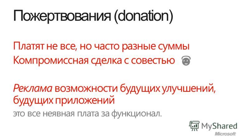 Пожертвования (donation) Платят не все, но часто разные суммы Компромиссная сделка с совестью Реклама возможности будущих улучшений, будущих приложений это все неявная плата за функционал.