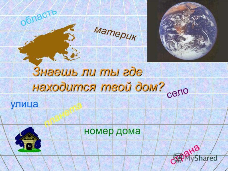Знаешь ли ты где находится твой дом? планета материк страна область село улица номер дома