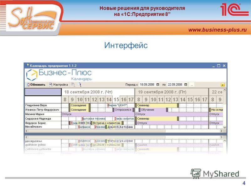 www.business-plus.ru Новые решения для руководителя на «1С:Предприятие 8 4 Интерфейс