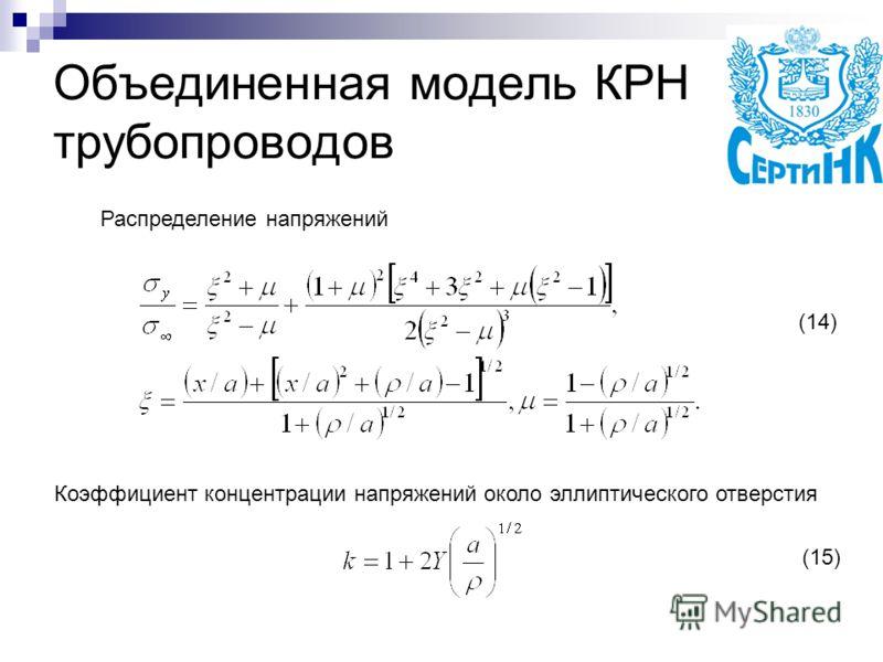 Объединенная модель КРН трубопроводов Распределение напряжений Коэффициент концентрации напряжений около эллиптического отверстия (14) (15)