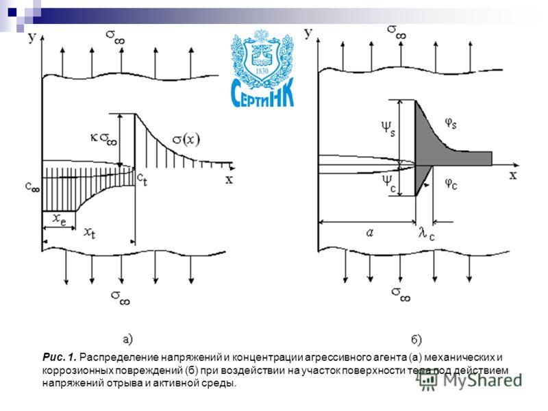 Рис. 1. Распределение напряжений и концентрации агрессивного агента (а) механических и коррозионных повреждений (б) при воздействии на участок поверхности тела под действием напряжений отрыва и активной среды.
