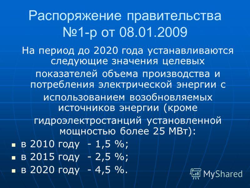 Распоряжение правительства 1-р от 08.01.2009 На период до 2020 года устанавливаются следующие значения целевых показателей объема производства и потребления электрической энергии с использованием возобновляемых источников энергии (кроме гидроэлектрос
