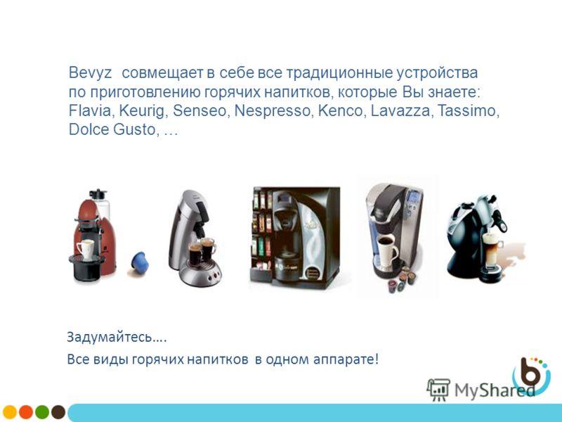 Bevyz совмещает в себе все традиционные устройства по приготовлению горячих напитков, которые Вы знаете: Flavia, Keurig, Senseo, Nespresso, Kenco, Lavazza, Tassimo, Dolce Gusto, … Задумайтесь…. Все виды горячих напитков в одном аппарате!