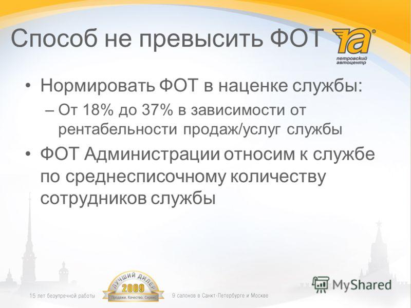 Способ не превысить ФОТ Нормировать ФОТ в наценке службы: –От 18% до 37% в зависимости от рентабельности продаж/услуг службы ФОТ Администрации относим к службе по среднесписочному количеству сотрудников службы