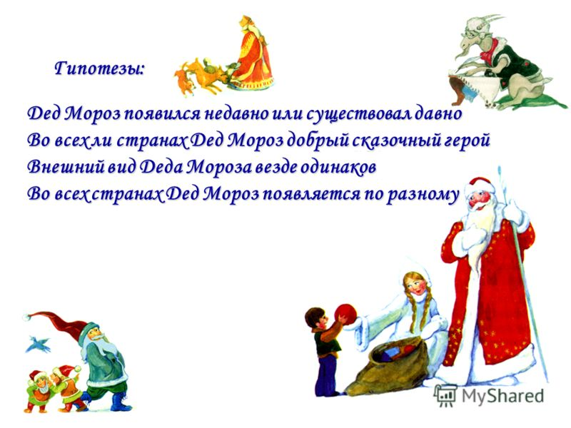 Дед Мороз появился недавно или существовал давно Во всех ли странах Дед Мороз добрый сказочный герой Внешний вид Деда Мороза везде одинаков Во всех странах Дед Мороз появляется по разному Гипотезы: