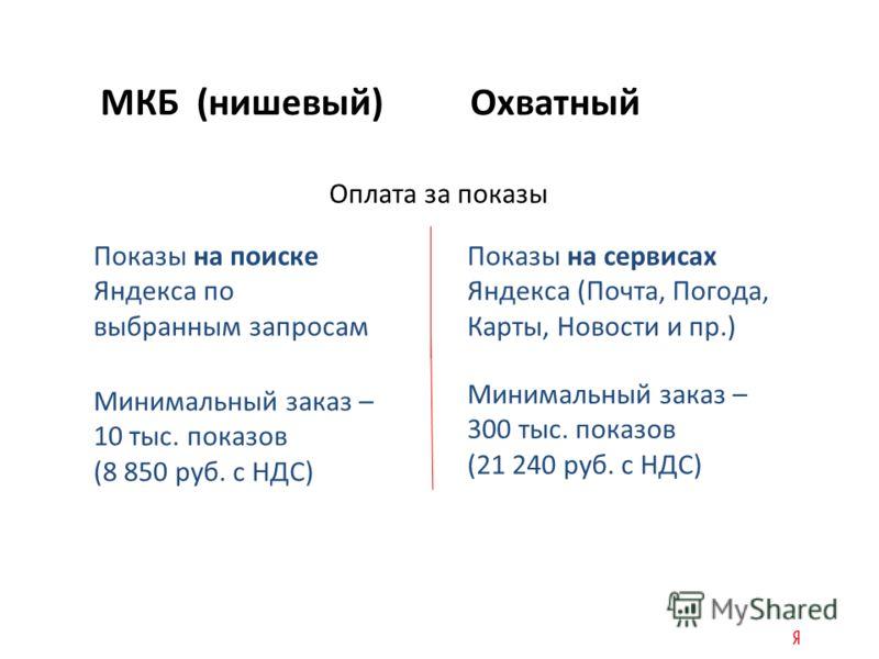 МКБ (нишевый) Охватный Оплата за показы Показы на поиске Яндекса по выбранным запросам Показы на сервисах Яндекса (Почта, Погода, Карты, Новости и пр.) Минимальный заказ – 10 тыс. показов (8 850 руб. с НДС) Минимальный заказ – 300 тыс. показов (21 24