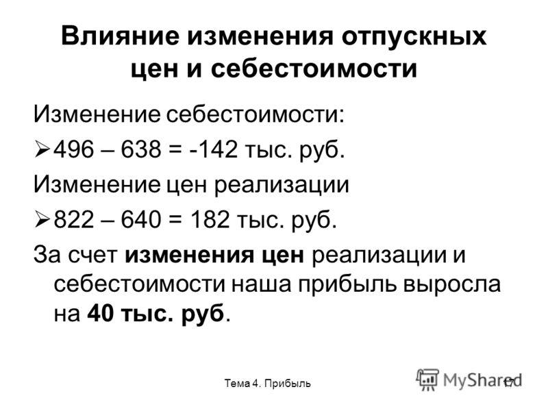 Тема 4. Прибыль17 Влияние изменения отпускных цен и себестоимости Изменение себестоимости: 496 – 638 = -142 тыс. руб. Изменение цен реализации 822 – 640 = 182 тыс. руб. За счет изменения цен реализации и себестоимости наша прибыль выросла на 40 тыс.