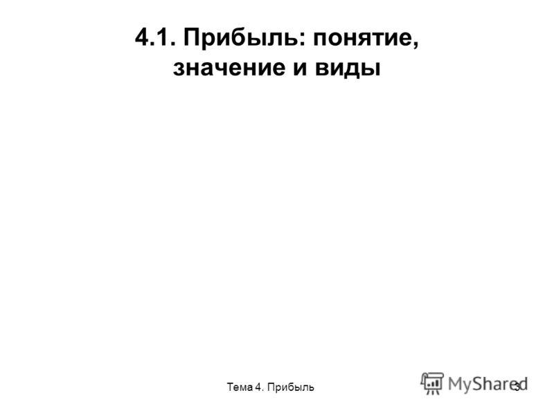 Тема 4. Прибыль3 4.1. Прибыль: понятие, значение и виды