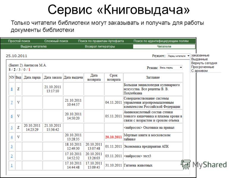 Ученый совет ЦНСХБ, 9 ноября 2011 года Сервис «Книговыдача» Только читатели библиотеки могут заказывать и получать для работы документы библиотеки