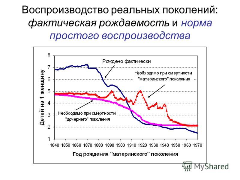 Воспроизводство реальных поколений: фактическая рождаемость и норма простого воспроизводства