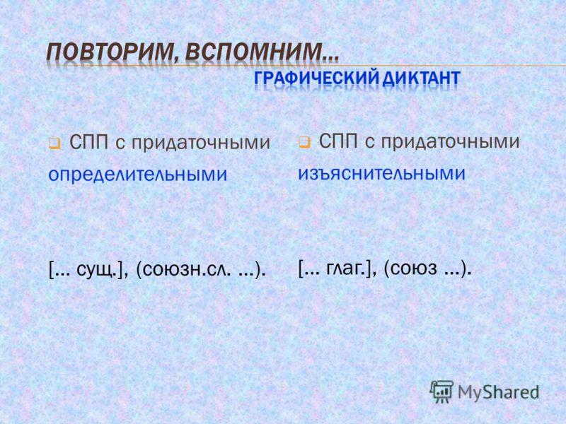 СПП с придаточными определительными [… сущ.], (союзн.сл. …). СПП с придаточными изъяснительными [… глаг.], (союз …).