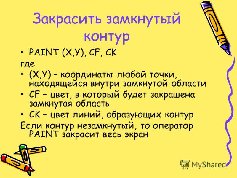 Закрасить замкнутый контур PAINT (X,Y), CF, CK где (X,Y) – координаты любой точки, находящейся внутри замкнутой области CF – цвет, в который будет закрашена замкнутая область CK – цвет линий, образующих контур Если контур незамкнутый, то оператор PAI