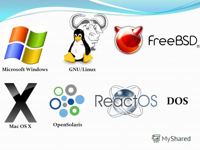Mac OS X Microsoft WindowsGNU/Linux OpenSolaris DOS