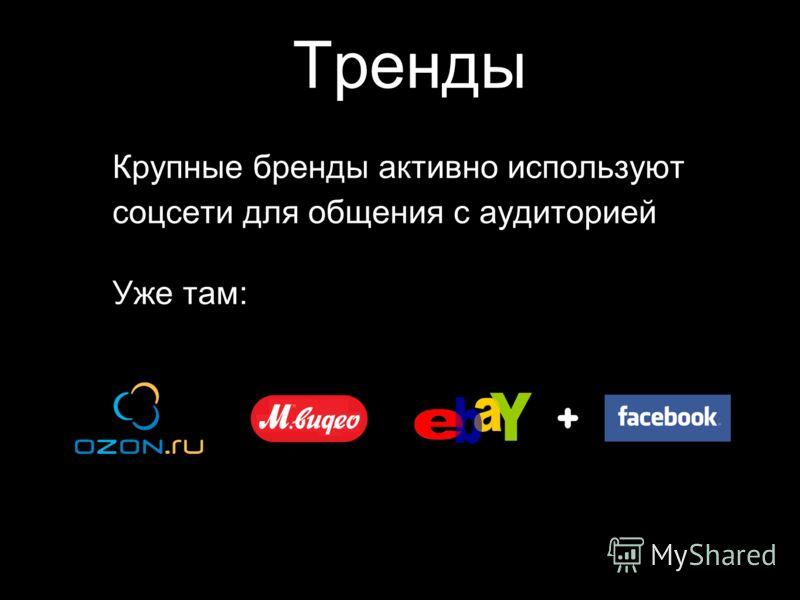 Тренды Крупные бренды активно используют соцсети для общения с аудиторией Уже там: