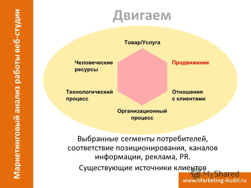 Двигаем Выбранные сегменты потребителей, соответствие позиционирования, каналов информации, реклама, PR. Существующие источники клиентов Маркетинговый анализ работы веб-студии www.Marketing-Audit.ru