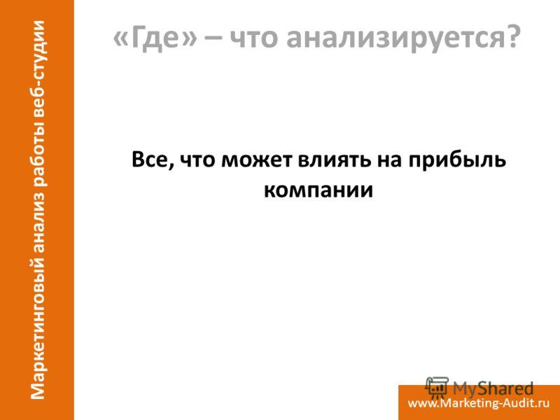 «Где» – что анализируется? Все, что может влиять на прибыль компании Маркетинговый анализ работы веб-студии www.Marketing-Audit.ru