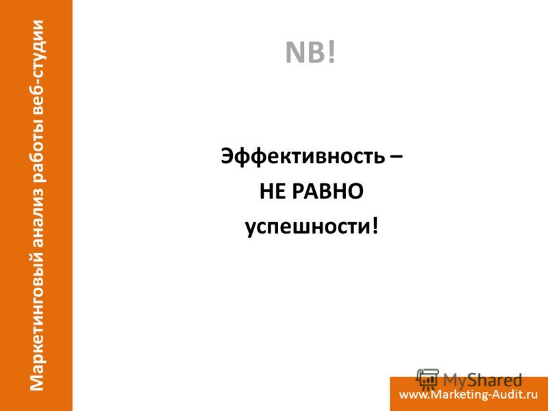 NB! Эффективность – НЕ РАВНО успешности! Маркетинговый анализ работы веб-студии www.Marketing-Audit.ru