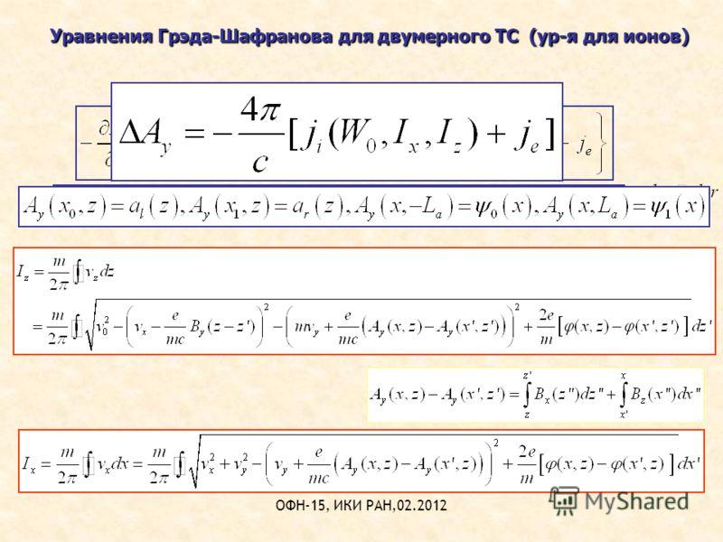 ОФН-15, ИКИ РАН,02.2012 Уравнения Грэда-Шафранова для двумерного ТС (ур-я для ионов)