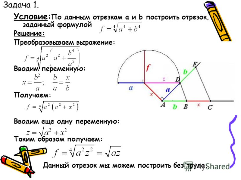 Задача 1. Условие: По данным отрезкам a и b построить отрезок, заданный формулой Решение: Преобразовываем выражение: Вводим переменную: Получаем: Вводим еще одну переменную: Таким образом получаем: Данный отрезок мы можем построить без труда.